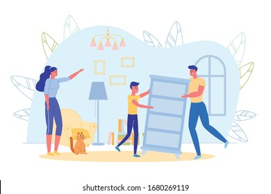 Happy Family Engaged in Furniture Rearrangement at Home. Father and Son Moving Chest of Drawers. Mother Showing New Place. Cohabitation or House Moving. Household and Chores. Vector Illustration