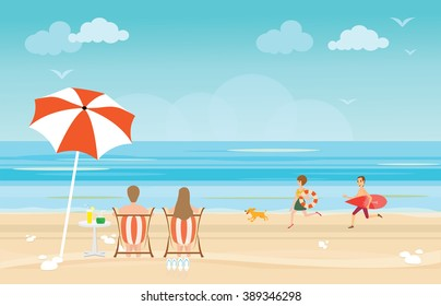 Happy family enjoying on beach during vacations, vector illustration.