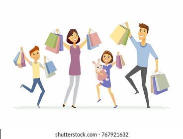 Happy family enjoys shopping - cartoon people characters isolated illustration