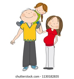 Happy family. Father carrying little child, his smiling daughter, on his shoulders. Pregnant mother is standing next to them, feeling happy. Original hand drawn illustration.