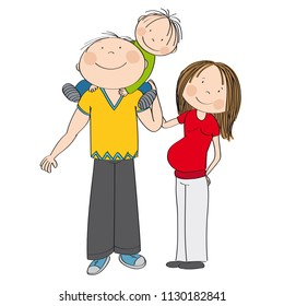 Happy family. Father carrying little child, his smiling son, on his shoulders. Pregnant mother is standing next to them, feeling happy. Original hand drawn illustration.