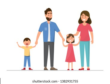 Happy family. Father, mother, baby, son and daughter. Vector illustration flat design cartoon character