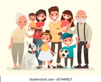 家族 集合 イラスト かわいいのベクター画像素材画像ベクター