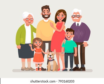 Happy family. Father, mother, grandmother, grandfather and children with a pet. Vector illustration of a cartoon style
