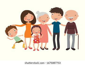 happy family. father, mother, grandparent, children, brother and sister, Vector illustration in a flat style