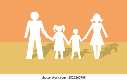 A happy family, father, mother, son and daughter hold hands and look to the future. Concept in modern 3d paper cut out style. Eps10 vector illustration.