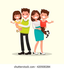 Happy family. Father, mother, son and daughter together. Vector illustration of a flat design