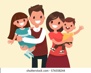 Happy family. Father, mother, son and daughter. Parents are keeping on the hands of their children. Vector illustration in a flat style