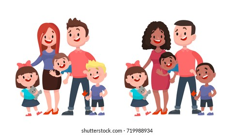 Happy family. Father, mother, two sons and daughter. Vector cartoon flat style illustration