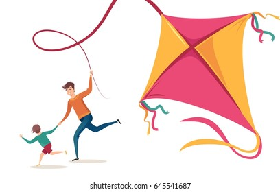 Happy family father and son playing with kite and having fun in summer. Vector illustration