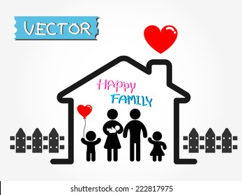 Happy Family (father,mother,infant,son,daughter in happy home)