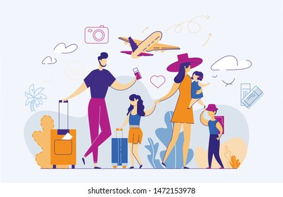 Happy Family of Five Persons in Airport. Mother, Father, Daughter, Son and Little Baby Traveling Abroad. Parents with Baggage Holding Tickets on Airplane Background. Cartoon Flat Vector Illustration