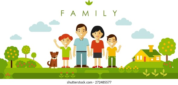 Happy family of four people and pet posing together on nature background in flat style