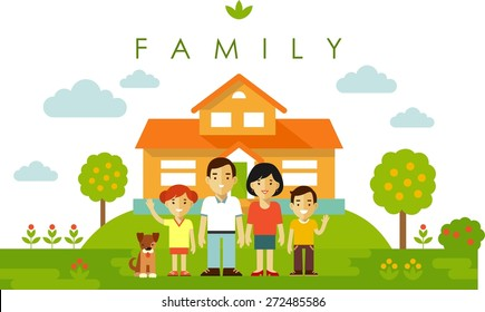 Happy family of four people and pet posing together on family house background in flat style