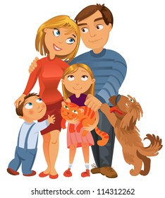 Happy family of four and two pets, posing together, vector illustration