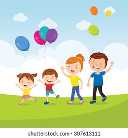 Happy family fun with balloons Vector illustration of a lovely family with balloons running outdoor.