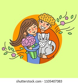 Happy family. Girl&boy. With cat. Isolated vector on light green background.