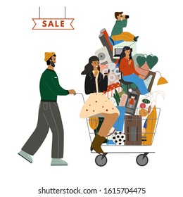 Happy family go with shopping cart full of purchases. Cute father is carrying cart with mother, children and goods. Big sale concept. Family shopping concept flat vector illustration.