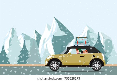 Happy family going to a winter traveling through  snowy, snow mountain and Christmas tree landscape. winter holiday trip flat design vector illustration.