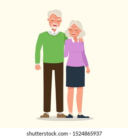 Happy family grandfather and grandmother character vector design.