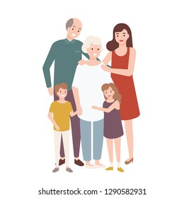 Happy family with grandfather, grandmother, mother, child girl and boy standing together and embracing each other. Funny cartoon characters isolated on white background. Flat vector illustration.