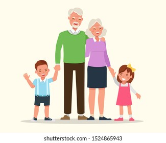Happy family grandparents with their grandchildren character vector design. no2