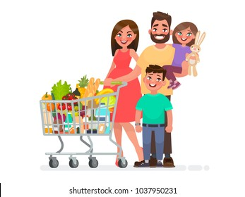 Happy family with a grocery cart full of products is shopping at the supermarket. Vector illustration in cartoon style