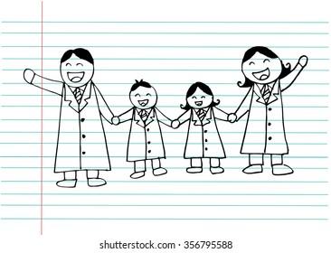 Happy family. Hand drawing illustration