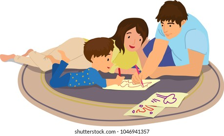 Happy family have a good time and draw together. Cartoon characters illustration.
