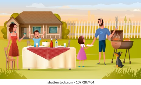 Happy Family Have Holiday Dinner with Drinks and Barbeque Near House Cartoon Vector Illustration. Father Cooking Steak for Son, Daughter and Wife on Backyard. Family Grilling, Countryside Grill Party
