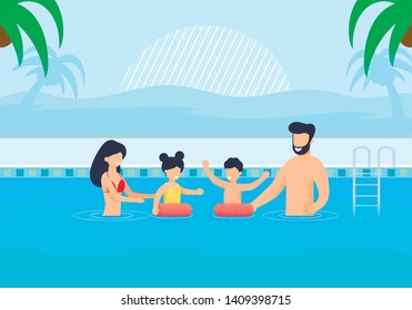 Happy Family Having Rest in Swimming Pool Cartoon. Mother and Father Help Children Swim in Inflatable Circles. Recreation at Hotel. Vacation in Hot Tropical Country. Vector Flat Illustration