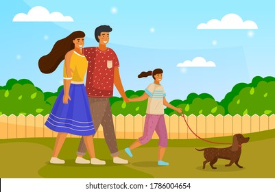 Happy family holding each other's hand, hugging, walking together outdoor with small dog along the rural road sunny day. Mother, father and daughter family weekend, people walk with pet in summer park