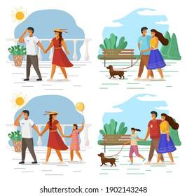 Joyeuse famille tenant la main l'une de l'autre, se serrant les coudes, marchant ensemble en plein air avec un petit chien le long du front de mer et du soleil. Le week-end de la mère, du père et de la fille en famille, les gens marchent avec leur animal de compagnie dans le parc d'été