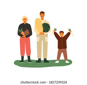 Happy family holding fruits and vegetables. Farmers with watermelon, melon, carrots and potato. Seasonal agricultural work, harvesting. Flat vector cartoon illustration isolated on white background.