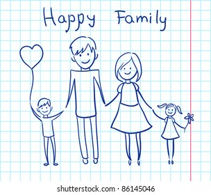 Happy family holding hands and smiling. Vector illustration