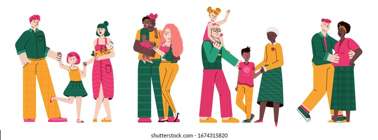 Happy family hugging together flat cartoon vector illustration isolated.