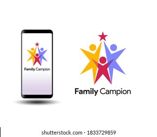 Happy family icon multicolored in simple figures