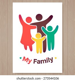 Happy family icon multicolored in simple figures. two children, dad and mom stand together. Vector can be used as logotype. Card illustration