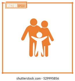 Happy family icon in simple figures, dad, mom and child stand together. Vector can be used as logotype