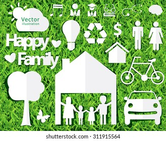 happy family ideas concept with creative design paper cut on green grass texture background, Vector illustration decorative layout template