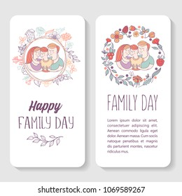 Happy family. International holiday Family Day. Vector illustration, greeting card. Mom, dad and son. Flower frame.