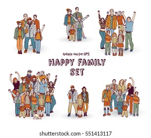 Happy family isolate white group color set. Color vector illustration. EPS8