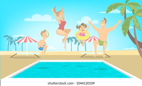 Happy family jump in pool on the vacations.
