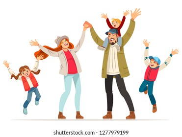 Happy family is jumping. Father mother daughter and sons holding hands together jumped. Vector illustration in cartoon style