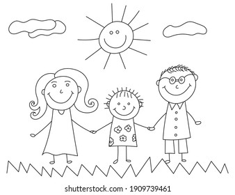Happy family kids doodle. Kid drawing with family. Illustration of happy cartoon family with child. Vector image of happy family, sun, grass and clouds