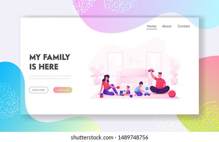Happy Family with Kids Leisure Time Website Landing Page. Father and Mother Playing Toys with Children. Mom Dad and Little Sons Loving Relation Web Page Banner. Cartoon Flat Vector Illustration