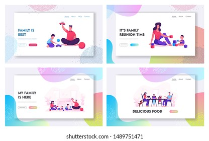 Happy Family with Kids Spending Time Together Website Landing Page Set. Mother Father Daughter and Son Playing and Eating at Home, Parents and Children Web Page Banner Cartoon Flat Vector Illustration
