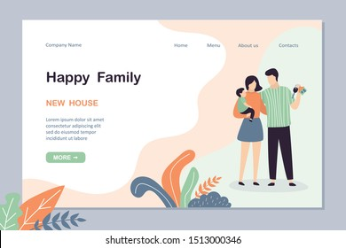 Happy family landing page template. Handsome man holds keys to new purchased or rented housing. Real estate template banner.Cute humans characters.Trendy vector illustration