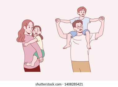 A happy family look. My mom is holding a girl and the boy is riding on my dad 's shoulder. hand drawn style vector design illustrations.