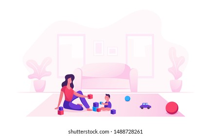 Happy Family of Loving Mom and Cheerful Kid Having Leisure Time. Mother and Little Son Playing Toys Sitting on Floor. Woman and Baby Boy Gaming Fun Loving Relation Cartoon Flat Vector Illustration
